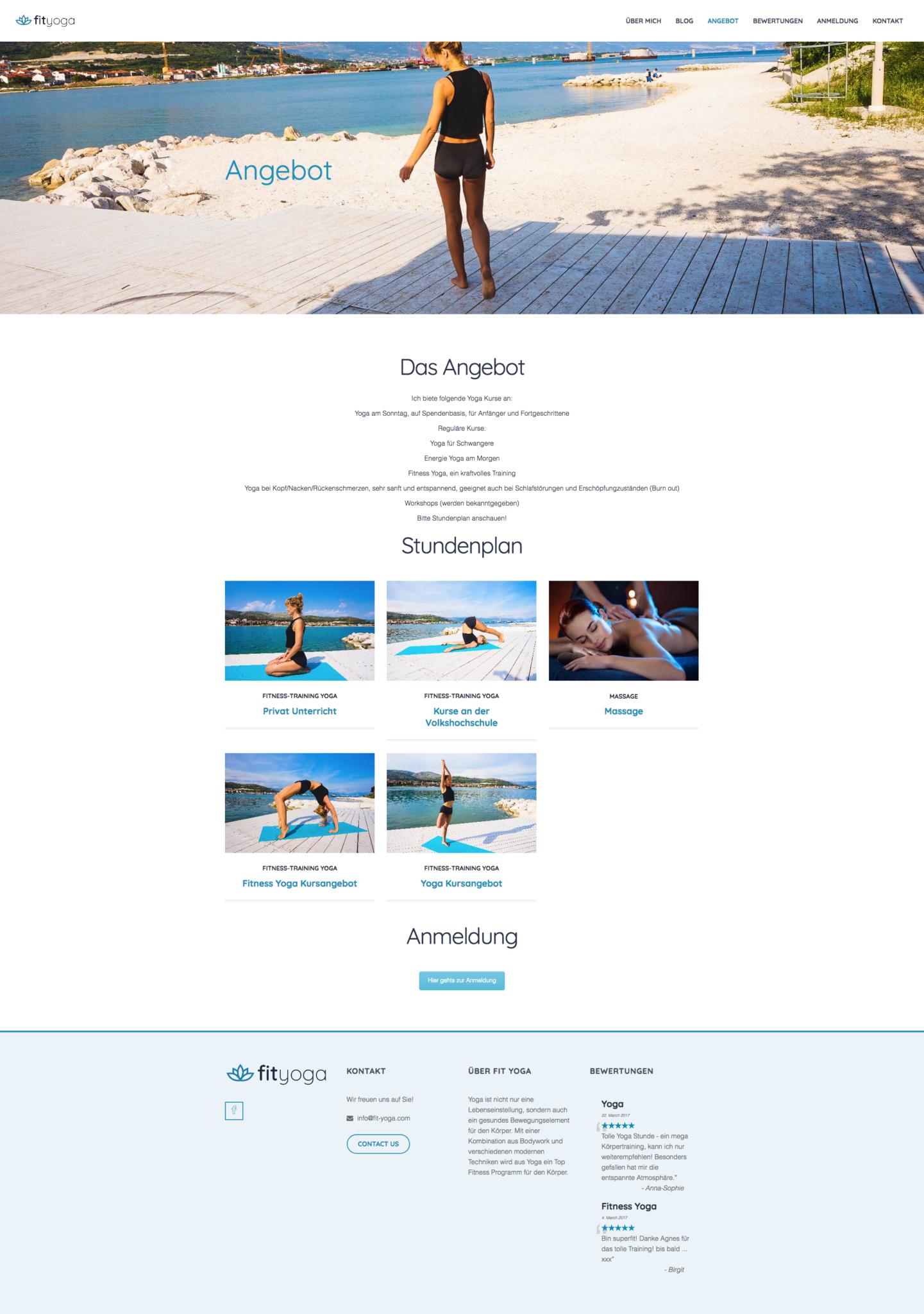 Fit Yoga by 36 digital&more Website Design