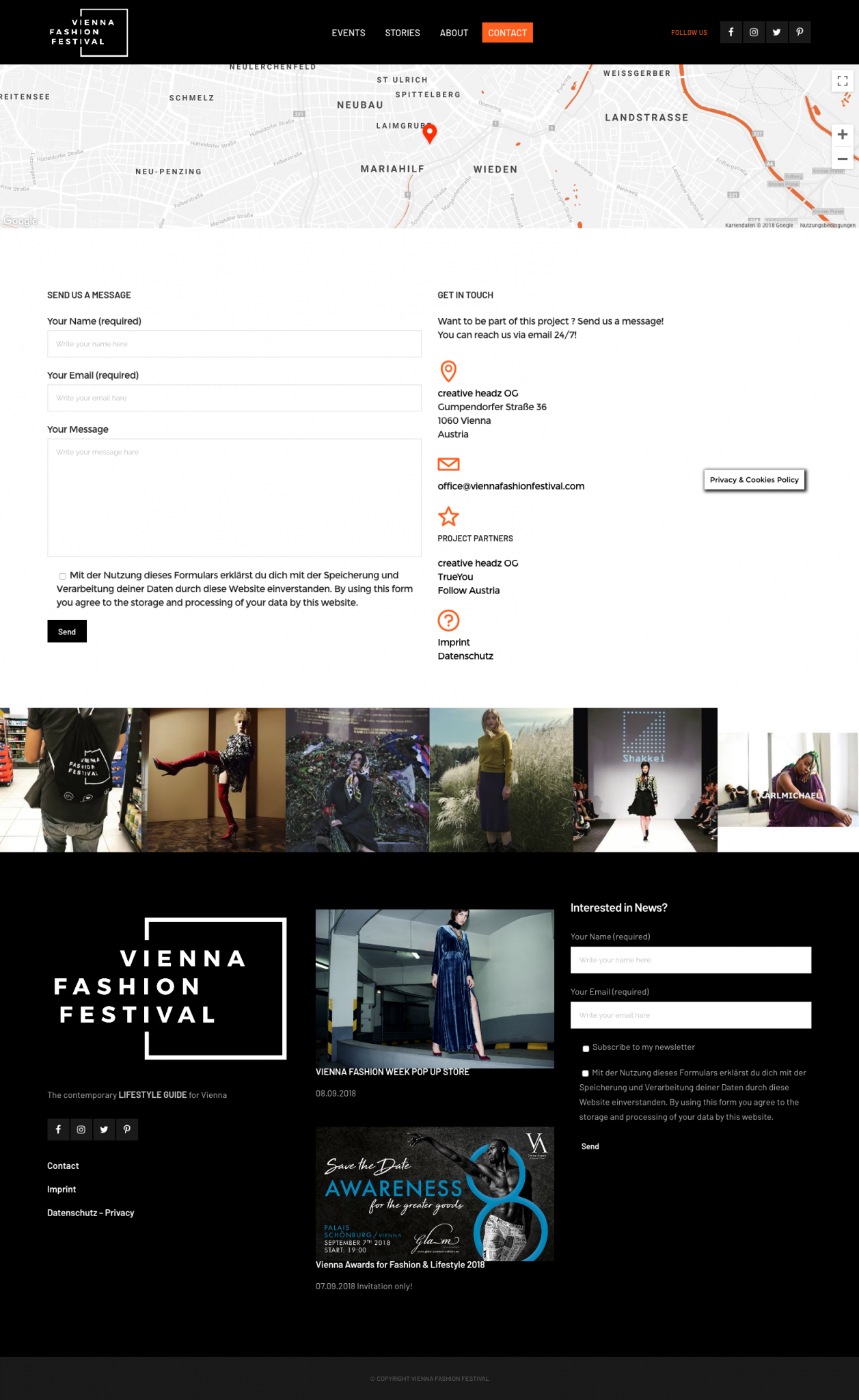 Vienna Fashion Festival Website Design by 36 digital&more